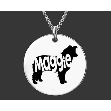 Border Collie Necklace |  Personalized Dog Necklace