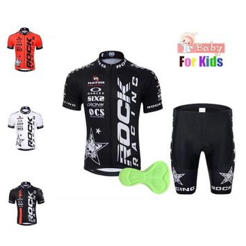 2018 Rock Kids Triathlon Clothing Boys Short Sleeve Summer Cycling Clothing Girls Funny Cycling Jersey Italy Maillot Ciclismo