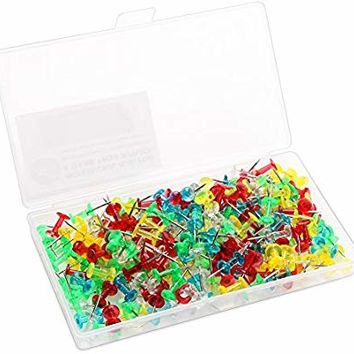 Color Thumb Tacks 200-Count Standard Push Pins Steel Point and Transparent Plastic Head