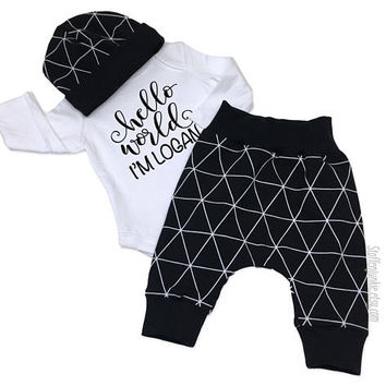 Baby Boy Coming Home Outfit, Hello World Newborn Outfit, Personalized Newborn Bodysuit, Preemie Outfit in Europe,Dream Explore Discover