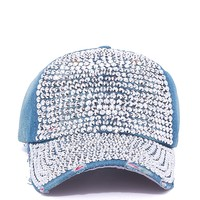 RHINESTONE FRONT DENIM BASEBALL CAP from ROXX at ShopRoxx.com