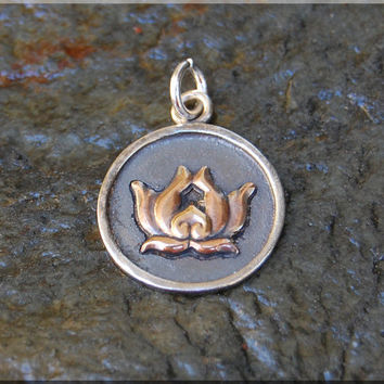 Add a Charm, Sterling Silver Gold Lotus Pendant, Lotus Flower Charm, Hand Soldered Lotus Charm, Mixed Metal Law Lotus Flower Charm
