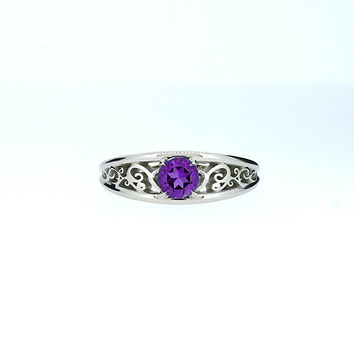 Amethyst filigree engagement ring, white gold ring, unique, purple solitaire, amethyst wedding ring, gold, vintage style, purple wedding