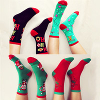 New Brand High Quality Women Cotton Socks Christmas Donuts Deer Creative Long Black Red Socks Ladies Female Gift Hosiery