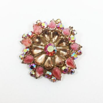 Pink Givre Stones AB Rhinestone Brooch Vintage 1940s 1950s Frosted Champagne Tear Drops Round Aurora Borealis Pin Mother's Day Gift for Her