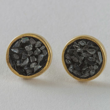 Haya Elfasi Circle Stud Black Rose Diamond Earrings in 24 Kt Gold Plated