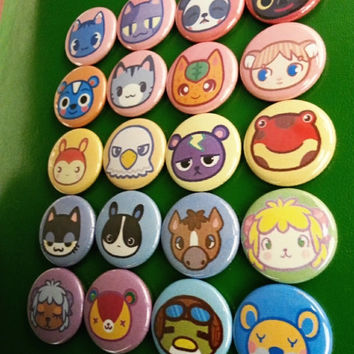 20 one inch Animal Crossing Buttonpins