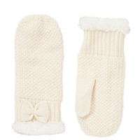 Cream Fur Trim Bow Mittens