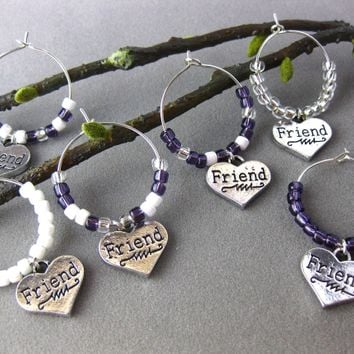 Friends in Hearts Wine Glass Tags, Set of 6, Purple, White, Silver Beads