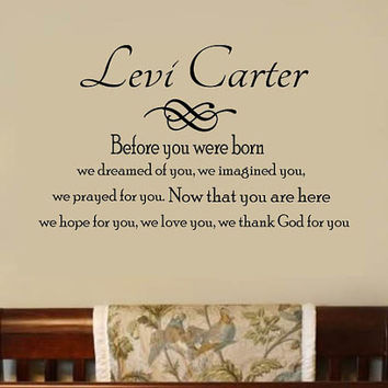 Personalized Wall Decal Baby Boy Nursery Vinyl Monogram  Name - Before you were Born Large Size Options
