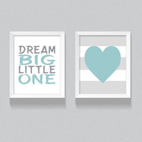Printable Nursery Art, 'Dream Big, Little One' Blue Boy's Nursery Digital Download, Set of two, Grey and Blue, Boy's Bedroom Decor