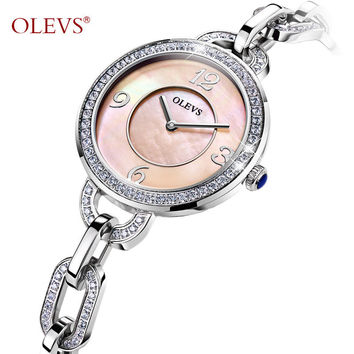 OLEVS Ladies Waterproof Watch Shiny Rhinestones Stainless Steel Watchband Women Watch Dial Quartz Bracelet Watches For Women 153