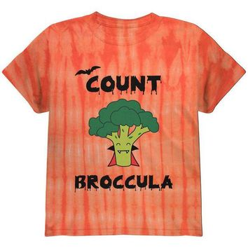 LMFON Halloween Vegetable Broccoli Count Broccula Dracula Funny Youth T Shirt