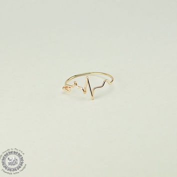 EKG Heartbeat Ring, Rose Gold, 20 Gauge Wire