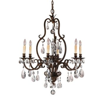 6-Light Aged Tortoise Shell Chandelier