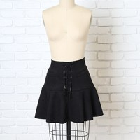 Black Suede Lace-Up Skirt