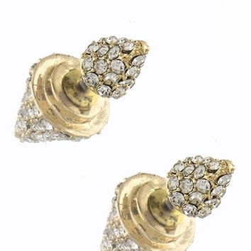 Double Spike Stud Crystal Encrusted Earrings - Gold or Silver