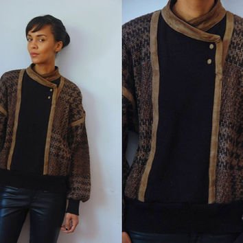 Vtg Alpaca Suede Leather Trim Houndstooth Mix Knit Sweater