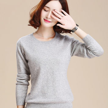 2017 Cashmere Sweater Women Sweaters and Pullovers Women Fashion o Neck Solid Color Long sleeve S-XXL Knitted Sweater