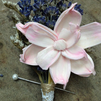 Handmade Wedding Corsage- Pale Pink Sola Pea Rose Flower Corsage, Lavender Corsage, German Statice, Twine, Lace, Rustic