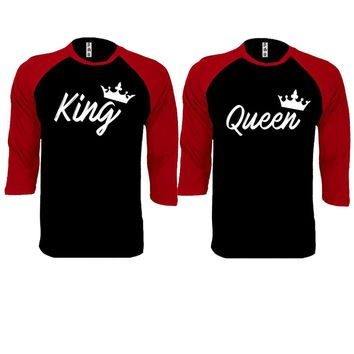 Handwrite King and Queen Couple Black / Red Baseball T-shirt