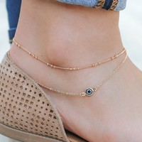 All Eyes On You Anklet - Gold