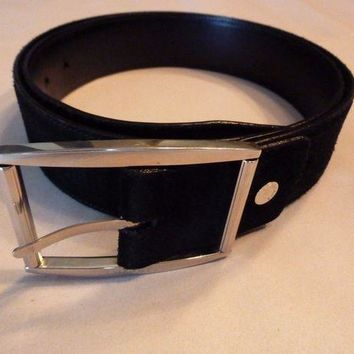 CHEN1ER Mens Black Suede genuine VERSACE Belt
