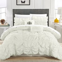 6PC Hannah White Ruche Waterfall Pleat Comforter SET
