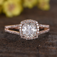 1.3 Carat Cushion Moissanite Engagement Rings Diamond Promise 14k Rose Gold Halo Stacking Band