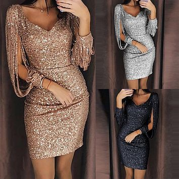 New Women Clubwear Winter Dress Sequined Shine High Split Girl Evening Party Dress Elegant Sequin Dress Femme Robe Plus Size