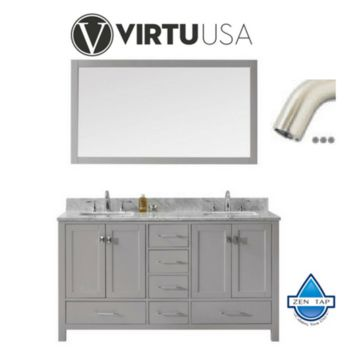 "Caroline Avenue 60"" Double Bathroom Vanity in Cashmere Grey with Marble Top and Square Sink with Brushed Nickel Faucet and Mirror"