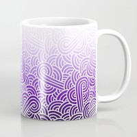 Ombre purple and white swirls zentangle Mug by Savousepate