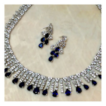 Wedding jewelry, bridesmaid necklace earrings, Royal blue crystal set Cubic Zirconia Crystal Jewelry