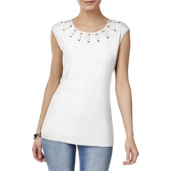 INC Womens Lace-Up Grommet Casual Top
