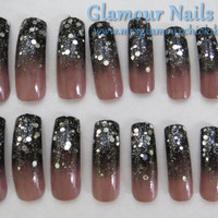 Black to Taupe gradient, gradient nail art, silver glitter nail art, long press on nails, full well nails, Taupe nails, Black nails