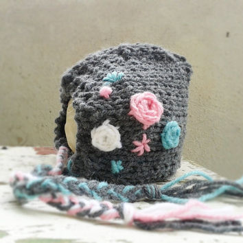 Embroidered Baby Bonnet, Baby Girl Hat, Newborn Photo Props, Pixie Bonnet, Knit Baby Hat  Etsy Kids