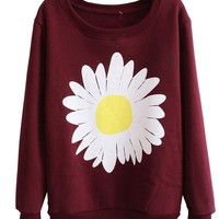 Mooncolour Women Girls Cute Chrysanthemum Pattern Crewnek Pullover Fleece Sweatshirt,Small, Wine Red