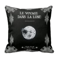 A Trip to the Moon or Le Voyage dans la Lune Retro Throw Cushion
