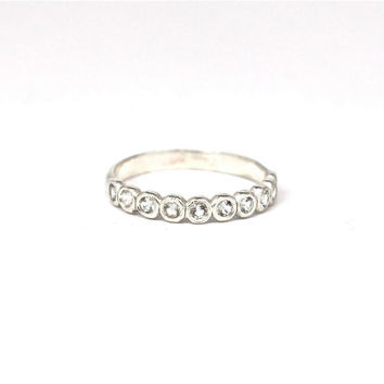 Half Eternity Band Sterling Silver Gemstone Birthstone Wedding Band Made to Order