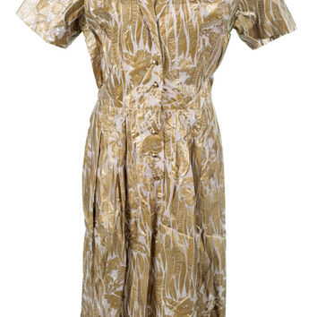 1960s vintage MOD space age metallic paper, cellulose shirtwaist dress by Henry Rosenfeld S/M