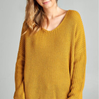 Easy V-Neck Split Sweater- 3 Colors!
