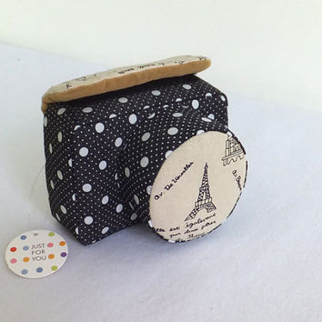 Digital Camera Case Bag, Black White Dotted, Free Camera Strap Included, Made to Order