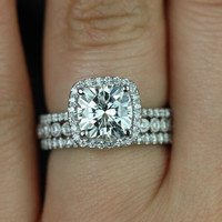 Catalina & Petite Bubbles WITH Milgrain 14kt FB Moissanite and Diamonds Halo TRIO Wedding Set (Other metals and stone options available)