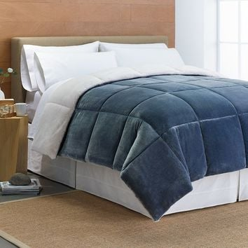 Cuddl Duds Cozy Soft Faux-Mink Down-Alternative Reversible Comforter