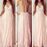 PINK LACE BACKLESS FASHION DRESS