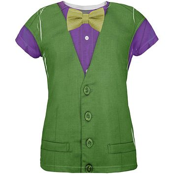Mardi Gras Green and Purple Vest Costume All Over Womens T Shirt