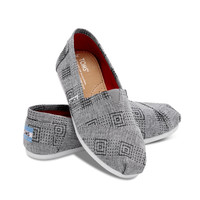 GREY CANVAS EMBROIDERED WOMEN'S CLASSICS