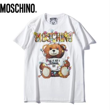 Moschion New fashion letter bear print couple top t-shirt White