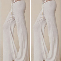 White Lace Slim Casual Pants [9266608332]