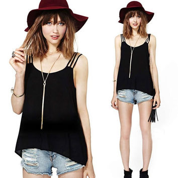 New Ethnic Sexy Womens Spaghetti Strap Short Vest Tops Backless Casual Tank Top Shirt  SV003317